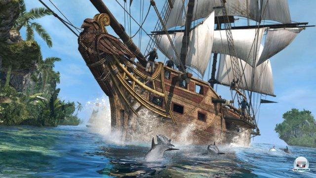 Die Fahrt auf hoher See sieht beeindruckend aus und vermittelt tolles Karibikflair.