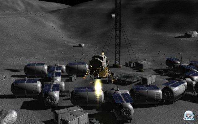 Landeanflug auf eine der Mondbasen.