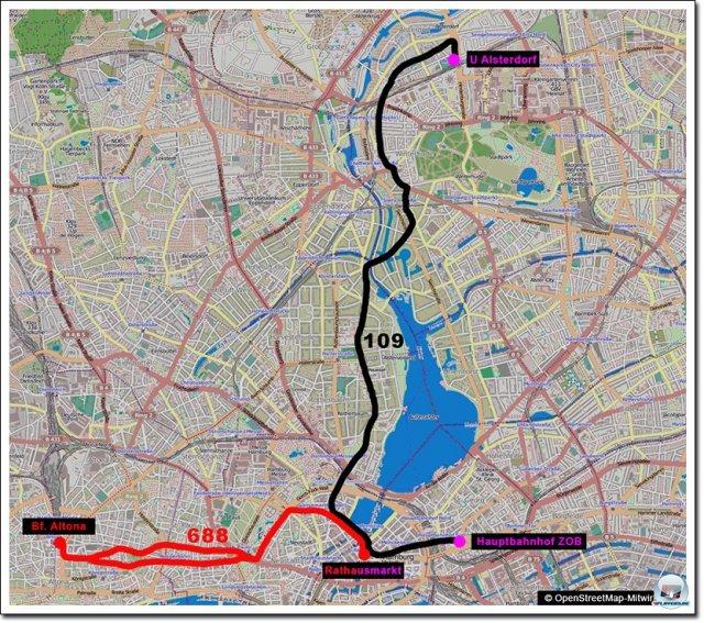 Die Gesamtstreckenf�hrung der beiden Linien kann sich sehen lassen. 15 Kilometer Buslinie.