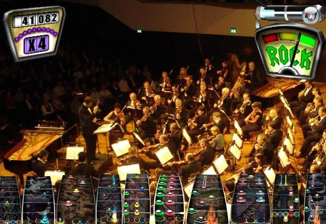 <b>Orchestra Hero</b><br><br>Und schon wieder steht der Preis einem unvergleichlichen Hero-Erlebnis im Weg: Die Herstellung von 64 Plastikgeigen, -hörnern, -harfen und -becken würde das Paket etwas teurer als üblich machen. Vom 88-tastigen Klick-Klavier ganz zu schweigen. 1791633