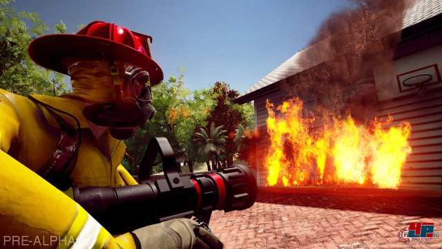 Gleich wird das brennende Haus betreten.